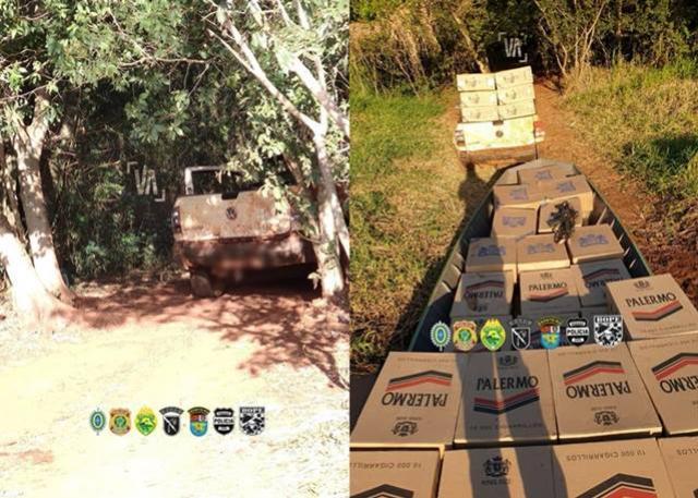 Veículo, embarcação e cigarros contrabandeados foram apreendidos durante Operação Hórus em Guaíra