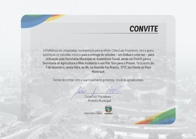 A Prefeitura de Umuarama convida a todos para a entrega de veículos nesta sexta, 07