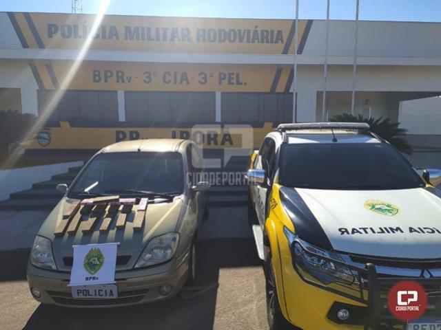 PRE de Iporã apreende veículo transportando cocaína e maconha em Cafezal do Sul