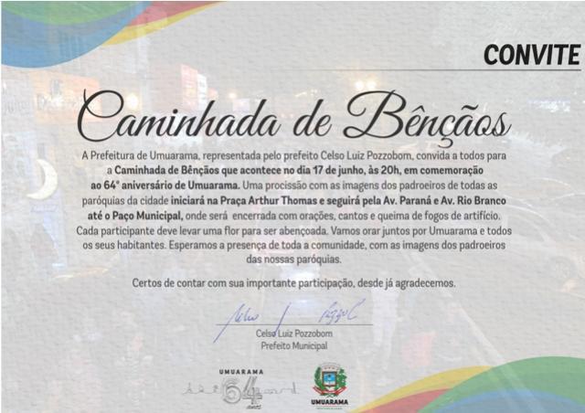 Prefeitura realizará caminhada de bênçãos em comemoraçãoao 64º aniversário de Umuarama