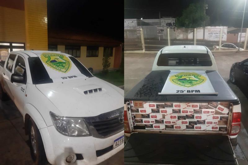 Veículo com contrabando de cigarros é apreendido pela Polícia Militar de Umuarama durante patrulhamento