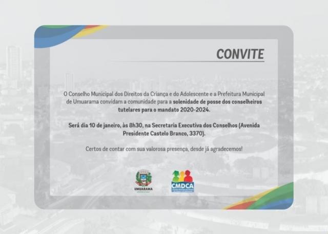 Solenidade de posse dos conselheiros tutelares para mandado será dia 10 de Janeiro em Umuarama