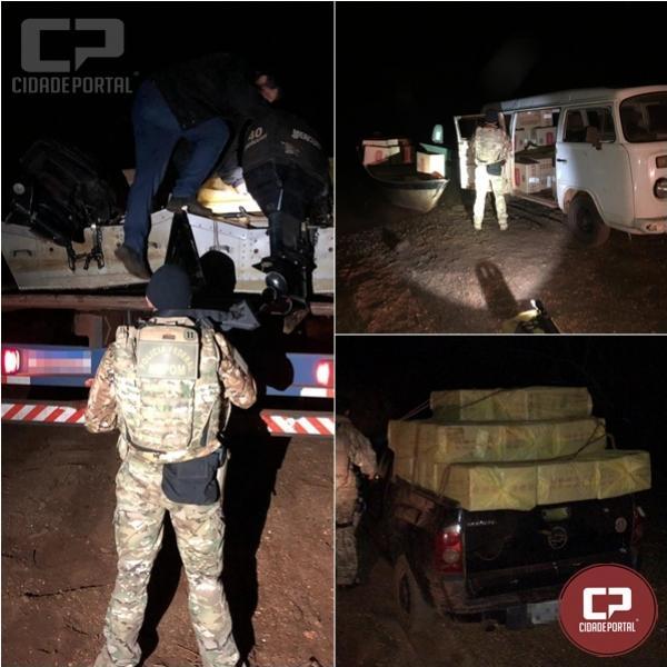 Ação conjunta da Polícia resulta na apreensão de 120 caixas de cigarros contrabandeados em Guaíra