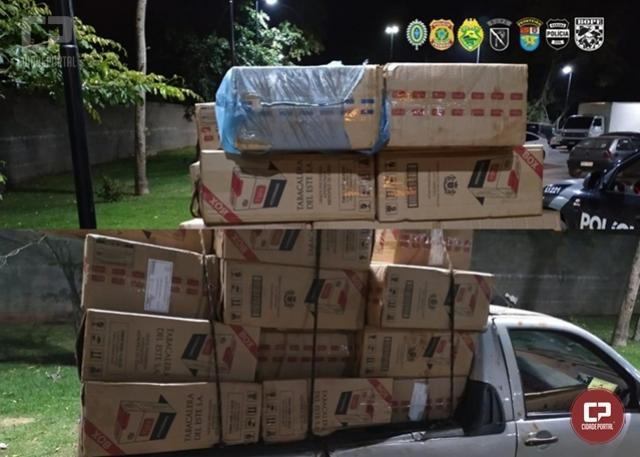 Carro carregado com cigarros contrabandeados é apreendido em Guaíra durante Operação Hórus