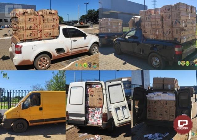 PF, BPFron e GOA/PCPR apreendem 7 veículos carregados com cigarros paraguaios em Guaíra