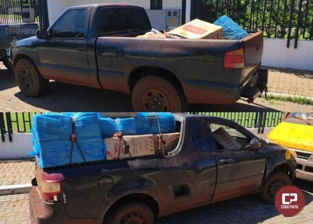 PF, BPFron e GOA/PCPR apreendem 2 veículos carregados com cigarros contrabandeados em Guaíra
