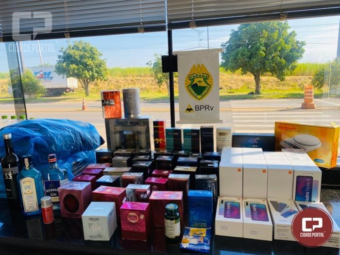 PRE apreende produtos contrabandeados do Paraguai na PR-323