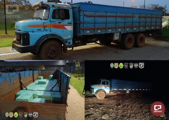 Caminhão carregado com cigarros contrabandeados foi apreendido em Guaíra durante Operação Hórus