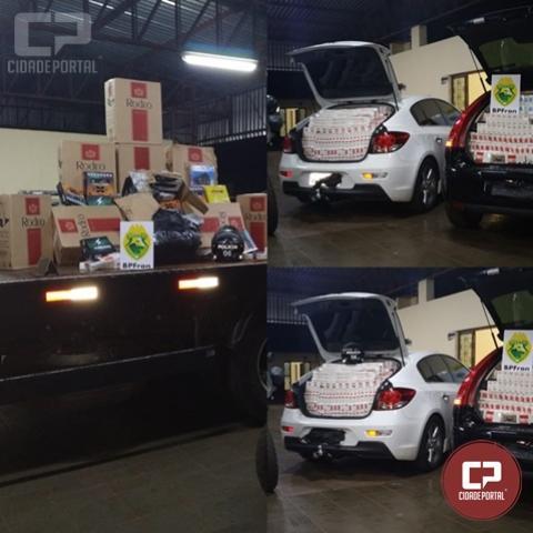 BPFron apreende dois veículos e 75 caixas de cigarros contrabandeados em Guaíra