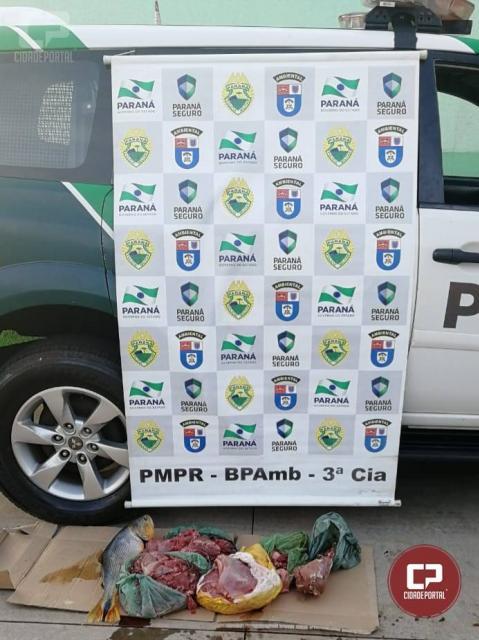 Polícia Ambiental prende uma pessoa com carne de caça e animais silvestres em cativeiro em Umuarama