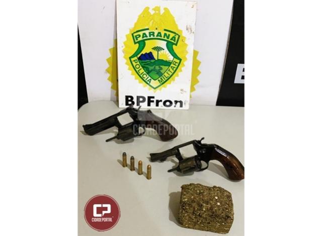 BPFron apreende armas de fogo e substância análoga a maconha durante Operação Hórus em Guaíra