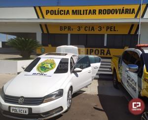 Veículo carregado com cigarros paraguaios foi apreendido pela PRE após perseguição em Perobal