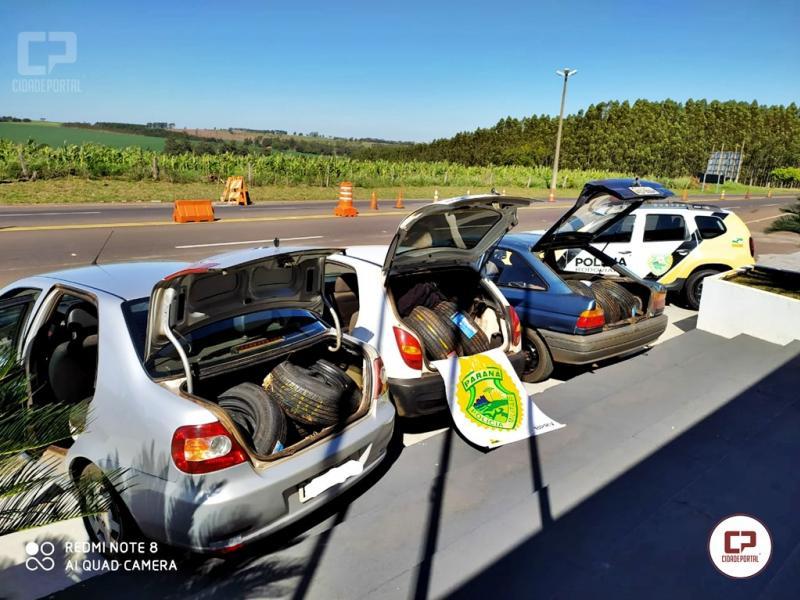Polícia Rodoviária Estadual de Iporã apreende três veículos carregados com pneus contrabandeados