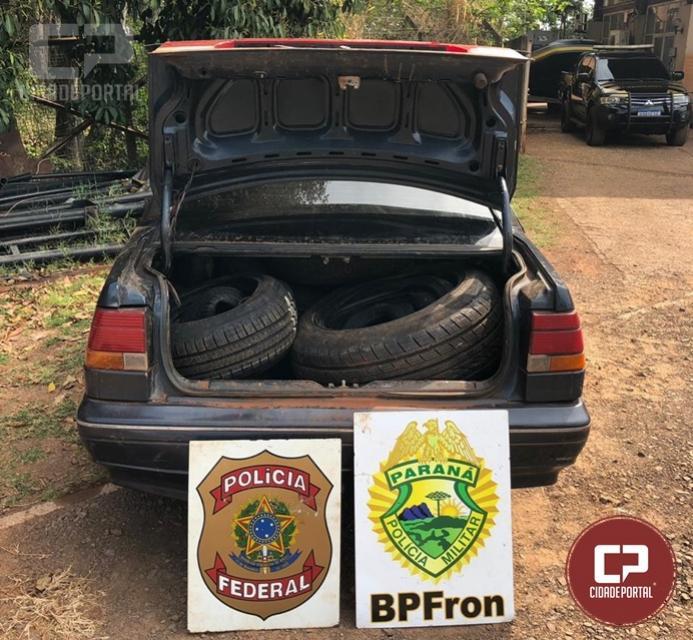 Policiais apreendem veículo carregado com pneus contrabandeados em Guaíra