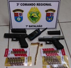 Policiais do 7º batalhão apreendem duas armas de fogo