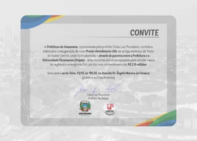 Prefeitura de Umuarama convida todos para a inauguração do novo Pronto Atendimento 24h
