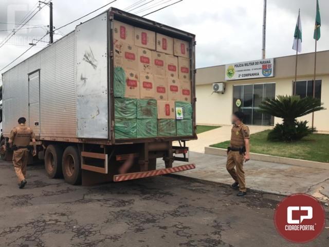 Equipe de Radiopatrulha de Iporã prende condutor de caminhão carregado com cigarros