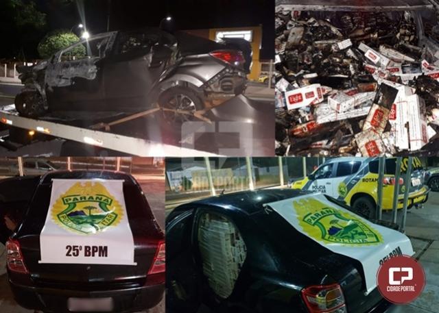 Após perseguição, Policiais Militares apreenderam dois carros carregados com cigarros paraguaios na PR-323