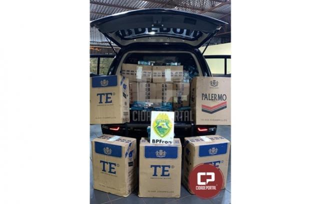 BPFron apreende caixas de cigarros contrabandeados durante Operação Hórus em Guaíra
