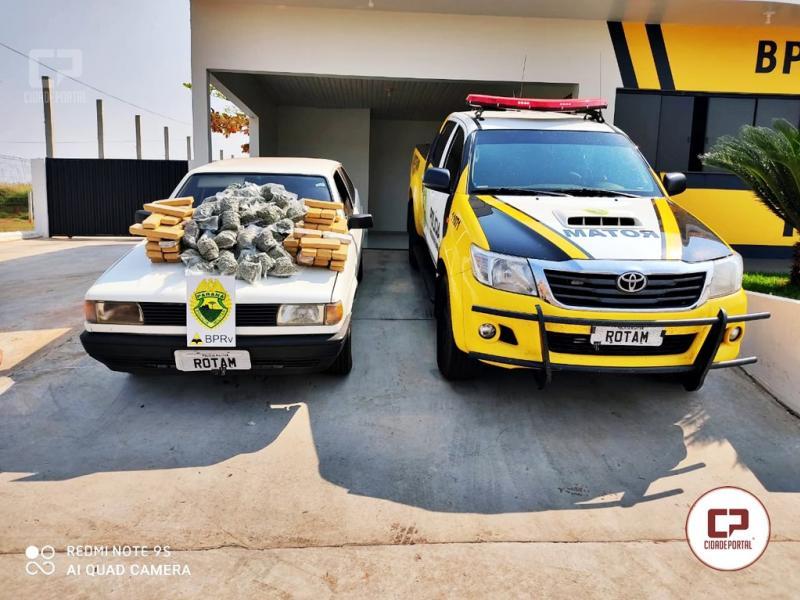 Equipe Rotam 3ª Cia de Cascavel apreende veículo carregado com Maconha e Skank em Cafezal do Sul