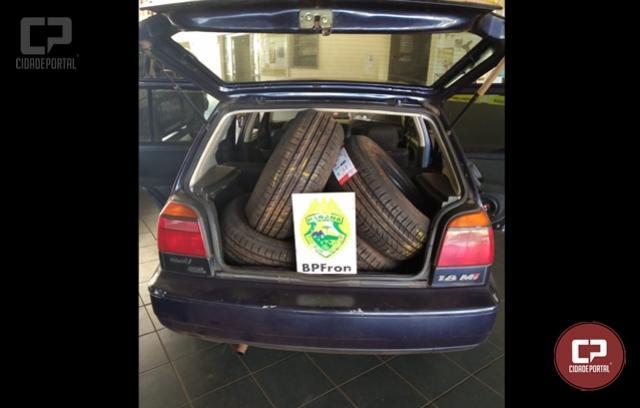 BPFron aprende veículo carregado com pneus contrabandeados em Guaíra
