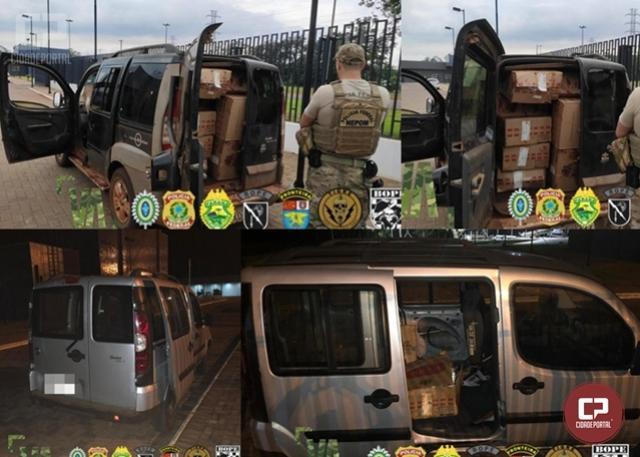PF e BPFron realizam apreensão de veículo transportando cigarros paraguaios em Guaíra