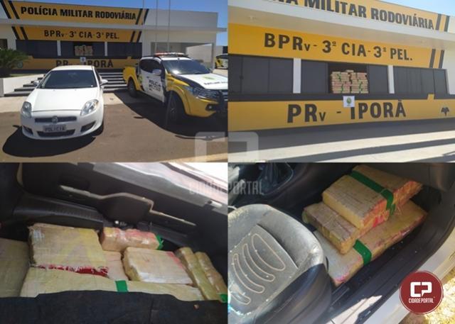 PRE de Iporã apreende veículo carregado com mais de 150 kg de maconha