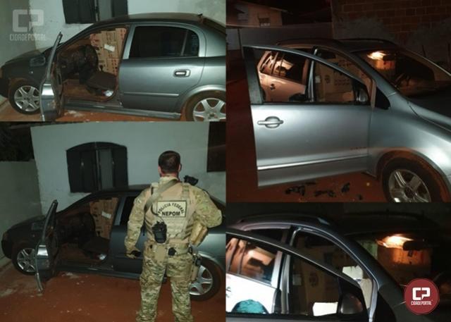 Veículo carregado com cigarros contrabandeados foi apreendido em Guaíra durante Operação Hórus