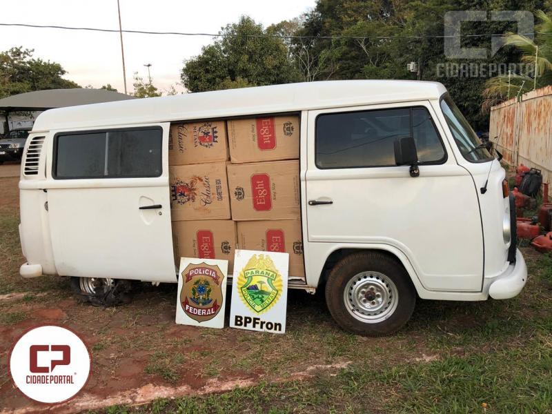 Policiais apreendem veículo carregado com caixas de cigarros contrabandeados em Guaíra