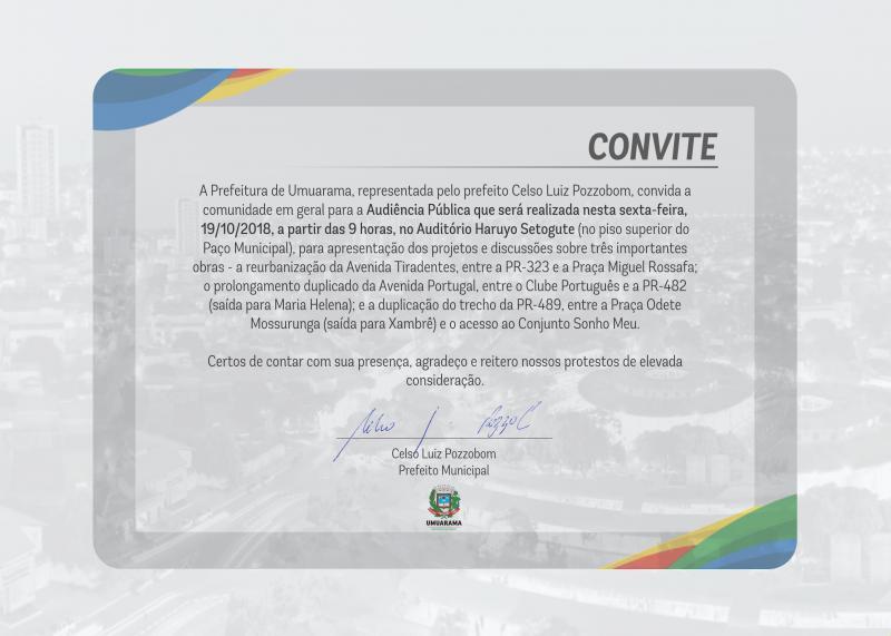 Celso Luiz Pozzobom, convida a comunidade para a Audiência Pública, sexta-feira, 19