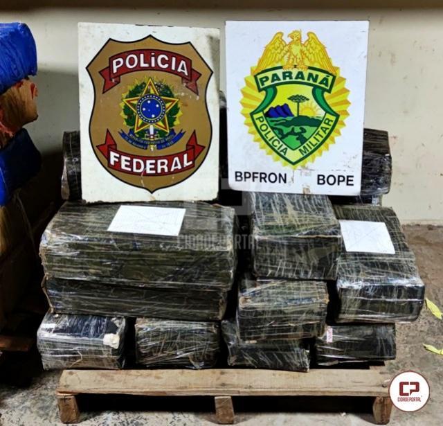Polícia Federal e BPFron realizam nova apreensão de mais de 324 kg de maconha em Guaíra