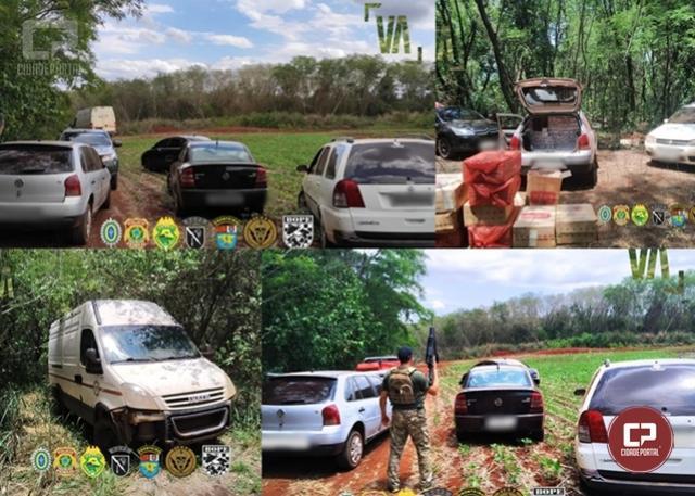 PF e BPFron estouram depósito de cigarros paraguaios e apreendem 05 veículos em Guaíra