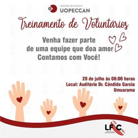 Treinamento para voluntários da Uopeccan começa na manhã deste sábado, 20, em Umuarama