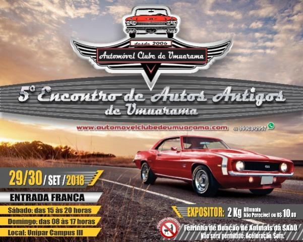 5º Encontro deAutosAntigos da Capital da Amizade deve reunir mais de 300 carros antigos em Umuarama
