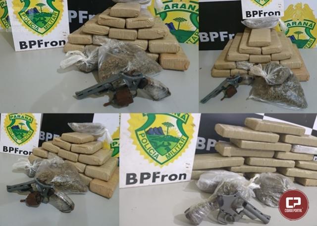 BPFron apreende drogas e arma de fogo na cidade de Guaíra