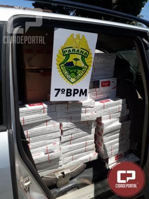 Policiais Militares do 7º BPM apreendem carro carregado com cigarros em Tuneiras D Oeste