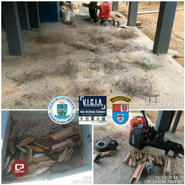 Polícia Militar Ambiental apreende equipamentos de pesca durante fiscalização em Douradina