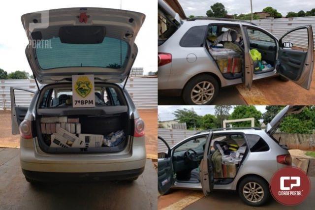 Policiais Militares do 7º BPM apreendem carro carregado com contrabando em Cruzeiro D Oeste