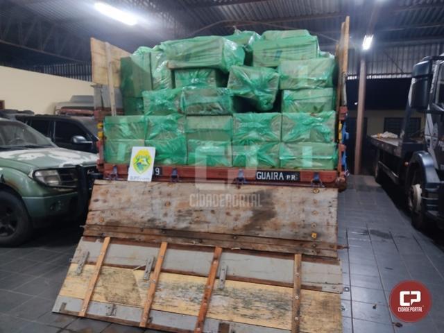 BPFron apreende caminhão carregado com cigarros contrabandeados em Guaíra