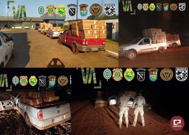 NEPOM/GPI da PF e BPFRON/BOPE da PMPR apreendem 4 veículos carregados com cigarros em Guaíra