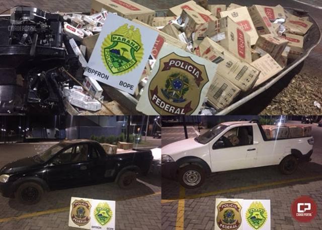 PMs apreendem dois veículos e uma embarcação carregados com 150 caixas de cigarros em Guaíra