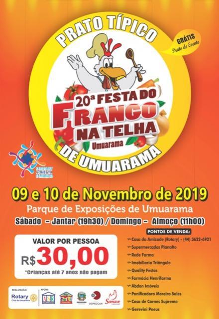 Vem aí a 20ª edição da Festa do Frango na Telha, prato típico de Umuarama