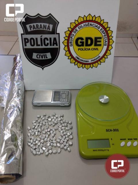 Operação da Polícia Civil em Umuarama apreende 135 pedras de crack e prende uma pessoa por tráfico