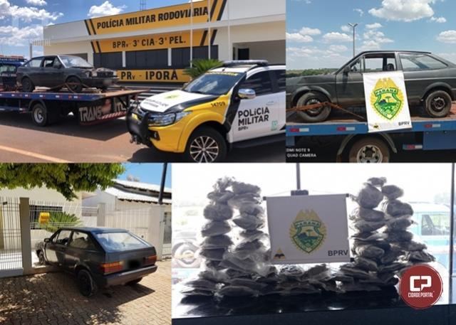 PRE de Iporã prende duas pessoas e apreende veículo carregado com Skunk