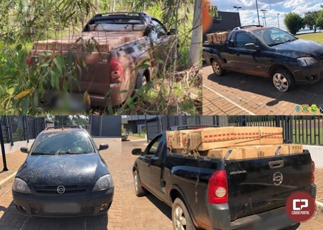 PF e BPFron realizam apreensão de 02 veículos carregados com cigarros paraguaios em Guaíra