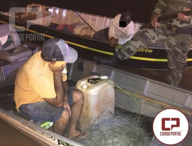 Polícia Ambiental de Umuarama prende duas pessoas com arma e redes de pesca no Rio Paraná