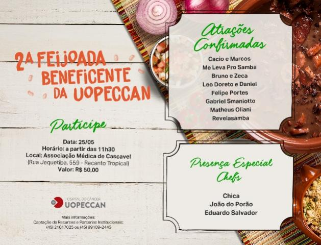 2º Feijoada beneficente da Uopeccan será neste sábado, 25