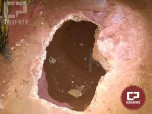 Novamente os reclusos da Cadeia Publica de Goioerê cavaram buraco destinado a fuga