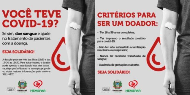 Saúde de Umuarama pede a pacientes curados de Covid-19 que doem plasma para tratamento de internados
