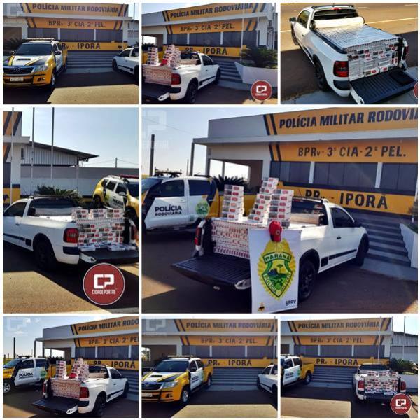 Polícia Rodoviária Estadual de Iporã apreende automóvel carregado de cigarros contrabandeados